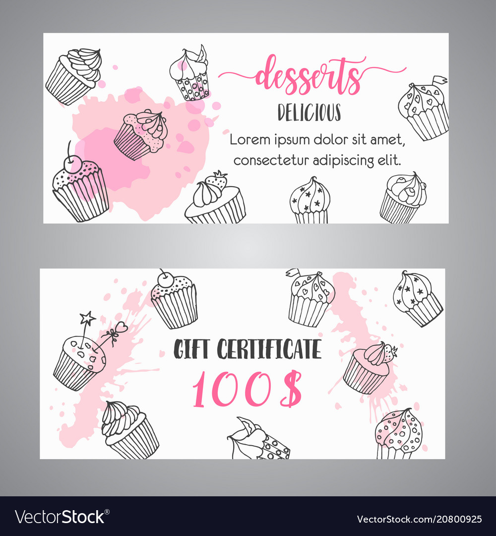 Cupcake gift certificate with handdrawn cupcakes vector image