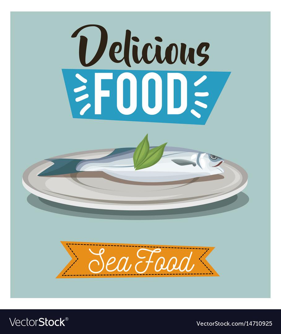 Delicious food fish seafood gourmet menu vector image
