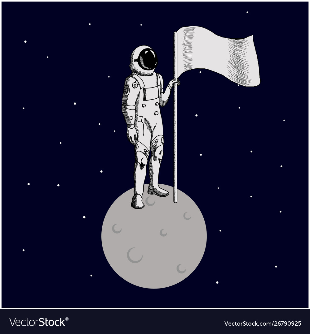 Flat design astronaut stand on moon with a