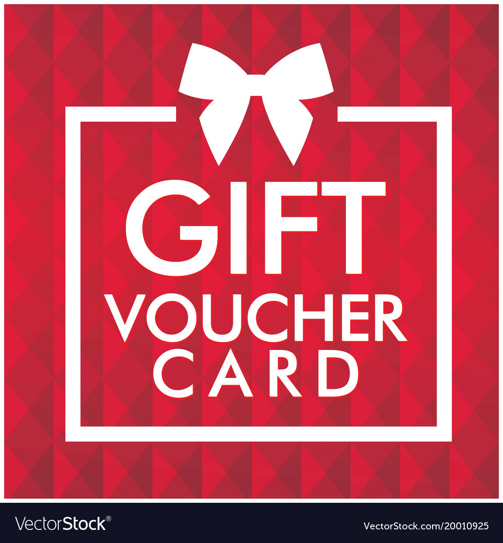 Gift Voucher Card White Gift Box Red Background Ve