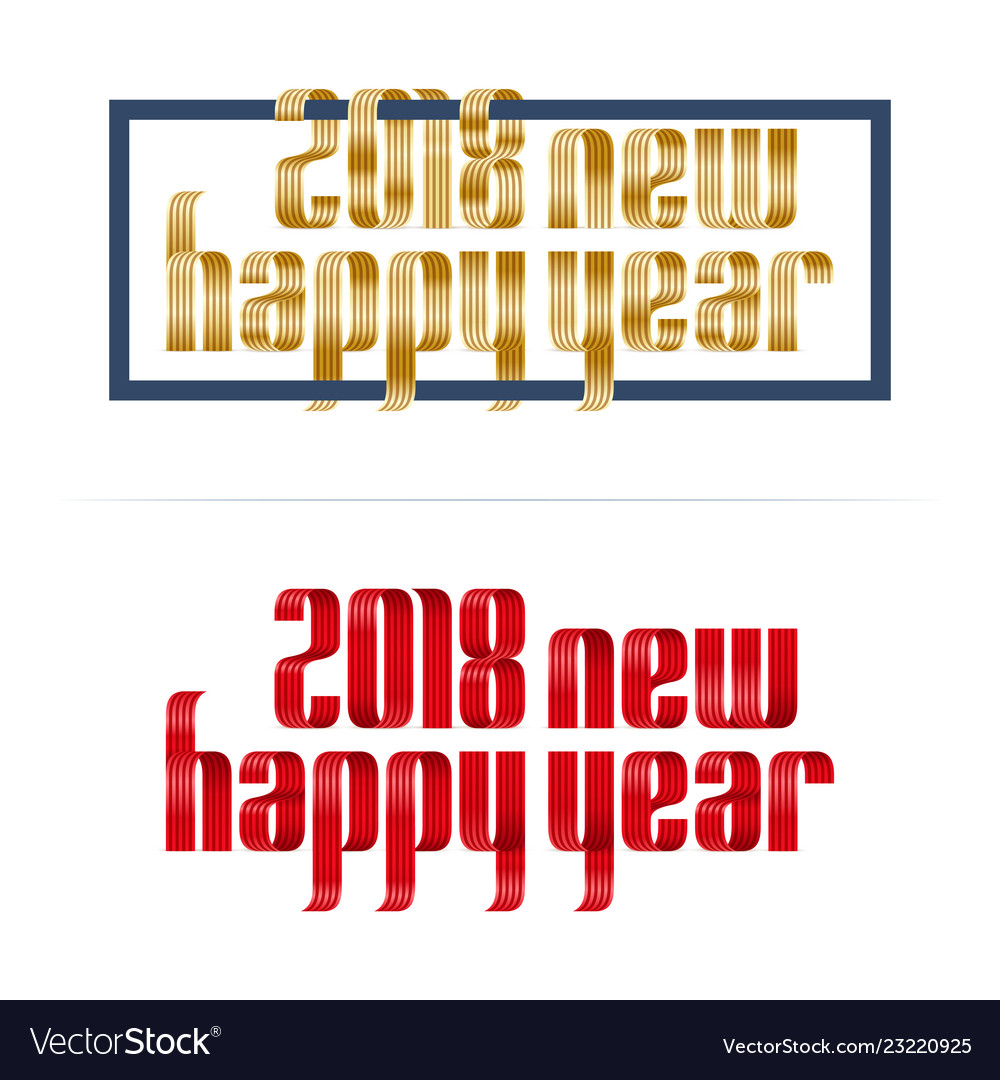 Gold and red 2018 happy new year font ribbon on