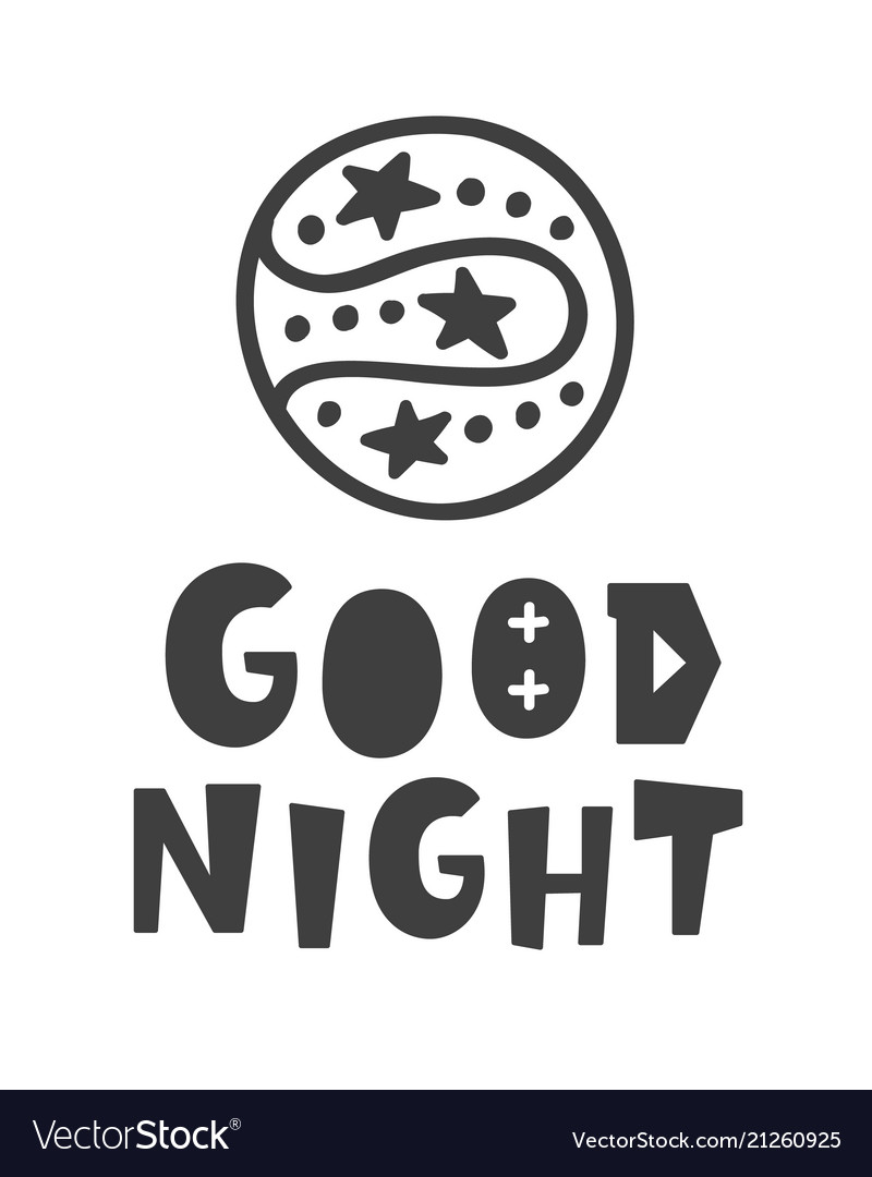 Good night scandinavian style childish poster