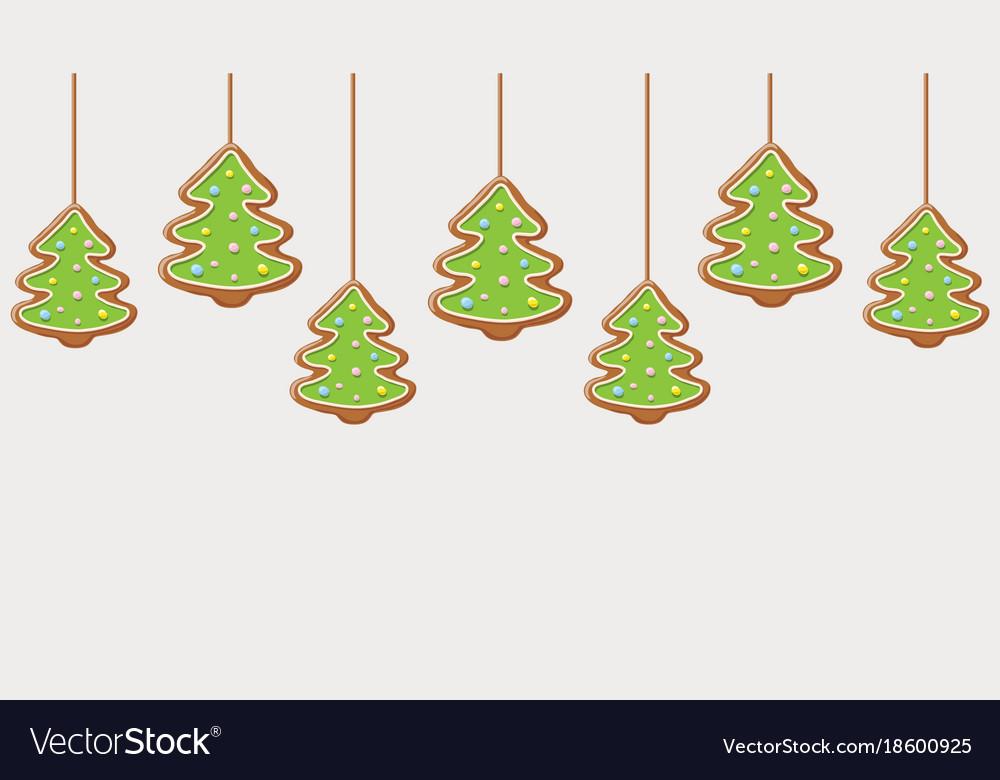 Hanging Gingerbread Christmas Trees Cookies