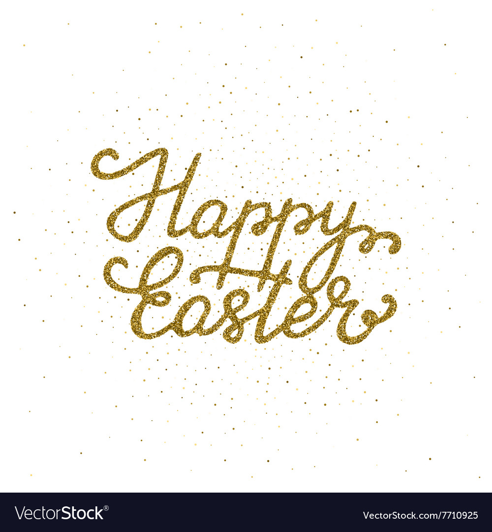 Happy easter - ink freehand lettering with golden