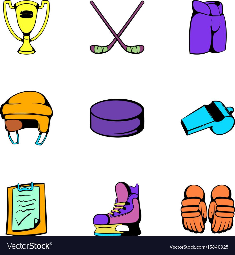 Hockey stadium icons set cartoon style vector image