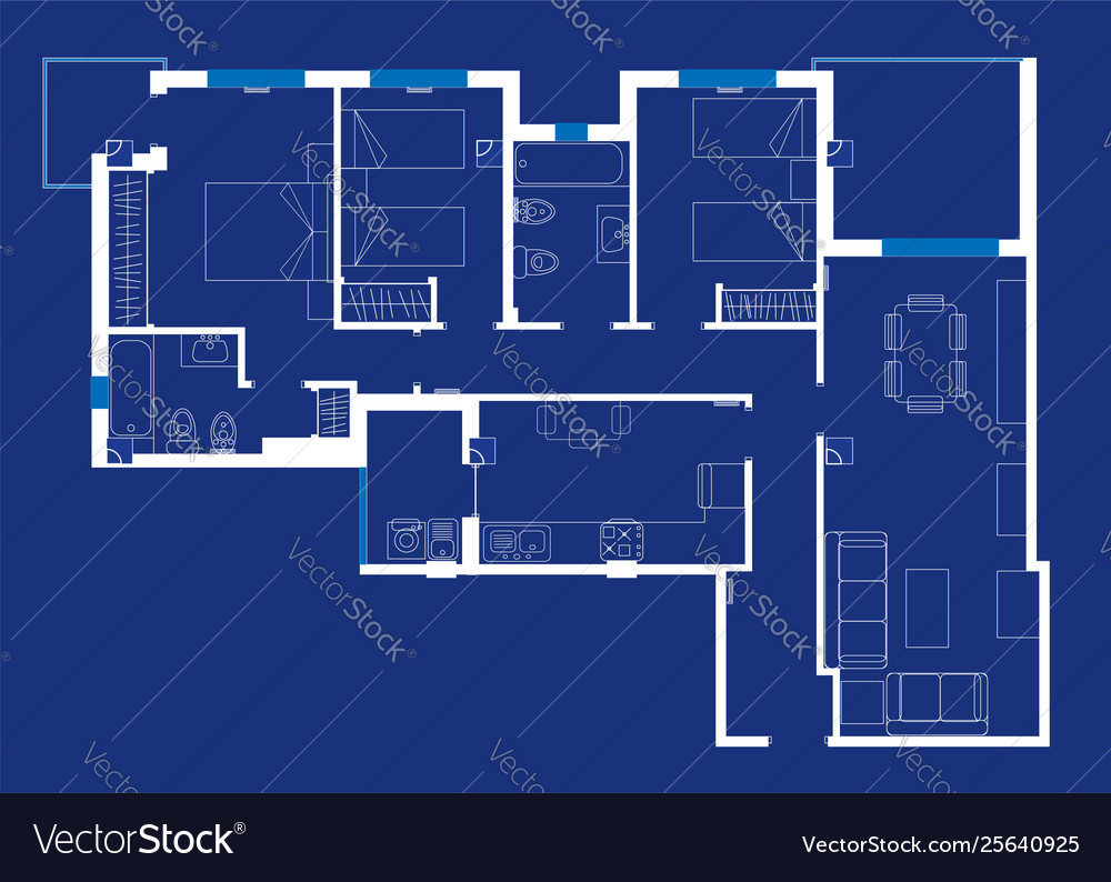 House blueprint with sketched furniture and