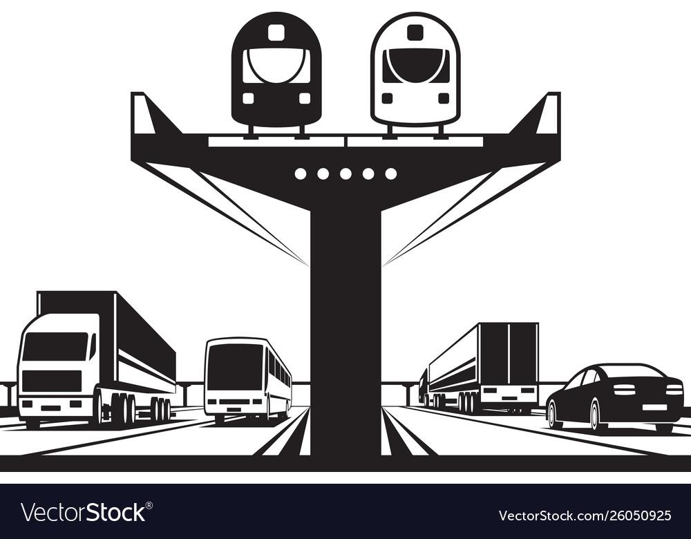 Railway flyover above highway