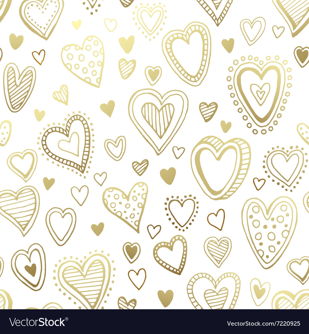 Seamless background with hand drawn hearts