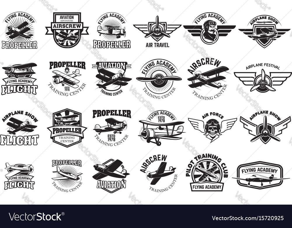 Set airplane training center emblems design
