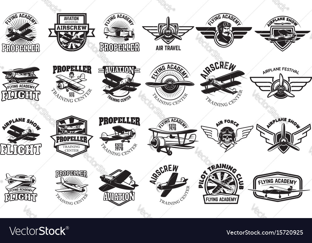 Set of airplane training center emblems design