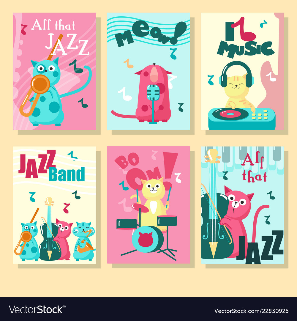 Set of cards with music cats and