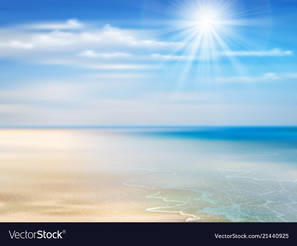 Summer background with ocean coastline blue sky