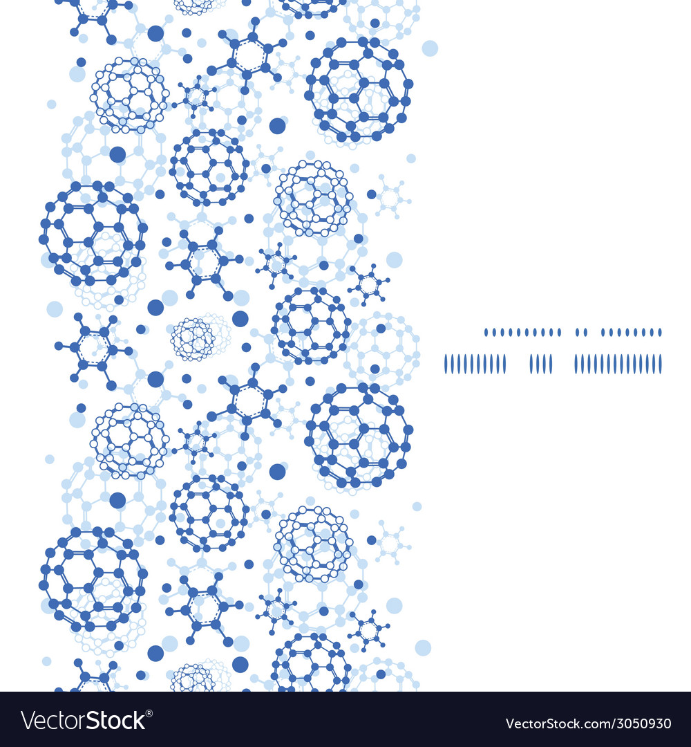 Blue molecules texture vertical frame seamless vector image