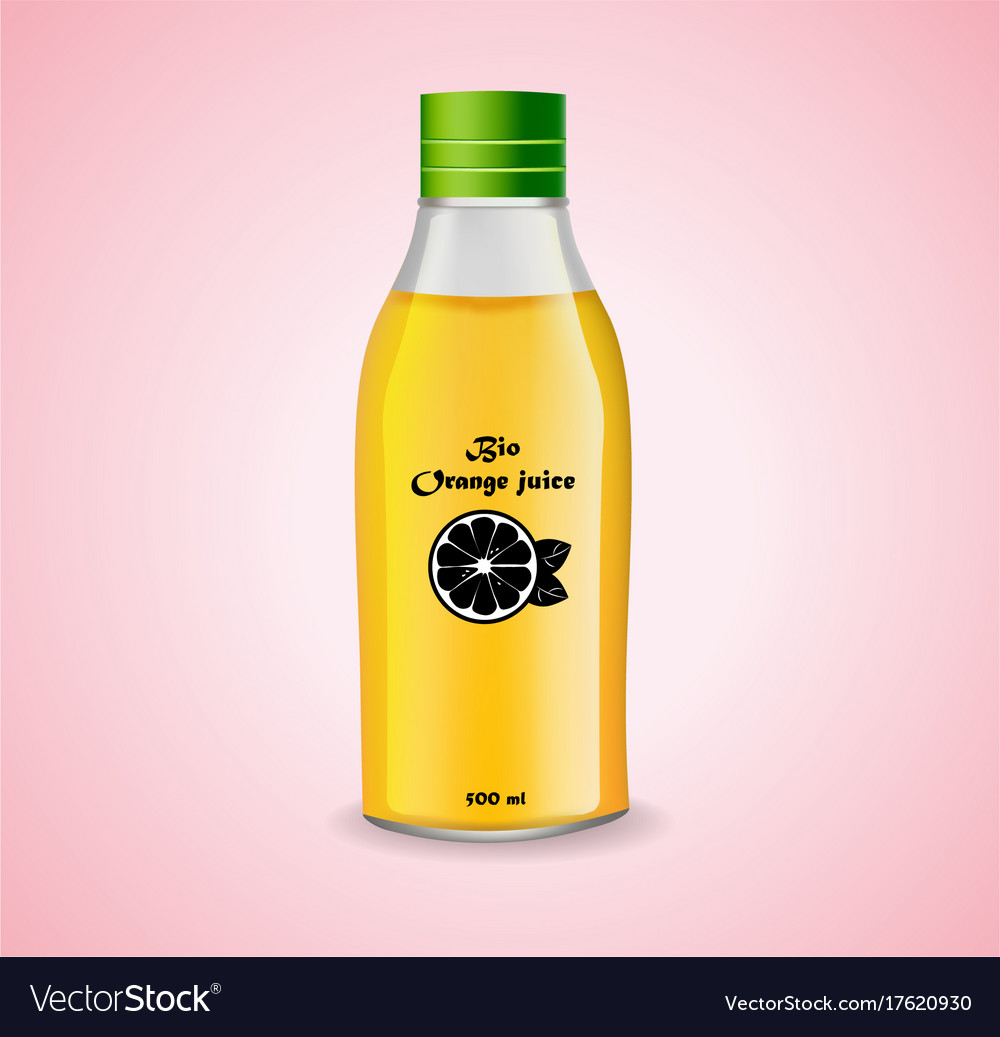 Bottle of orange juice realistic product