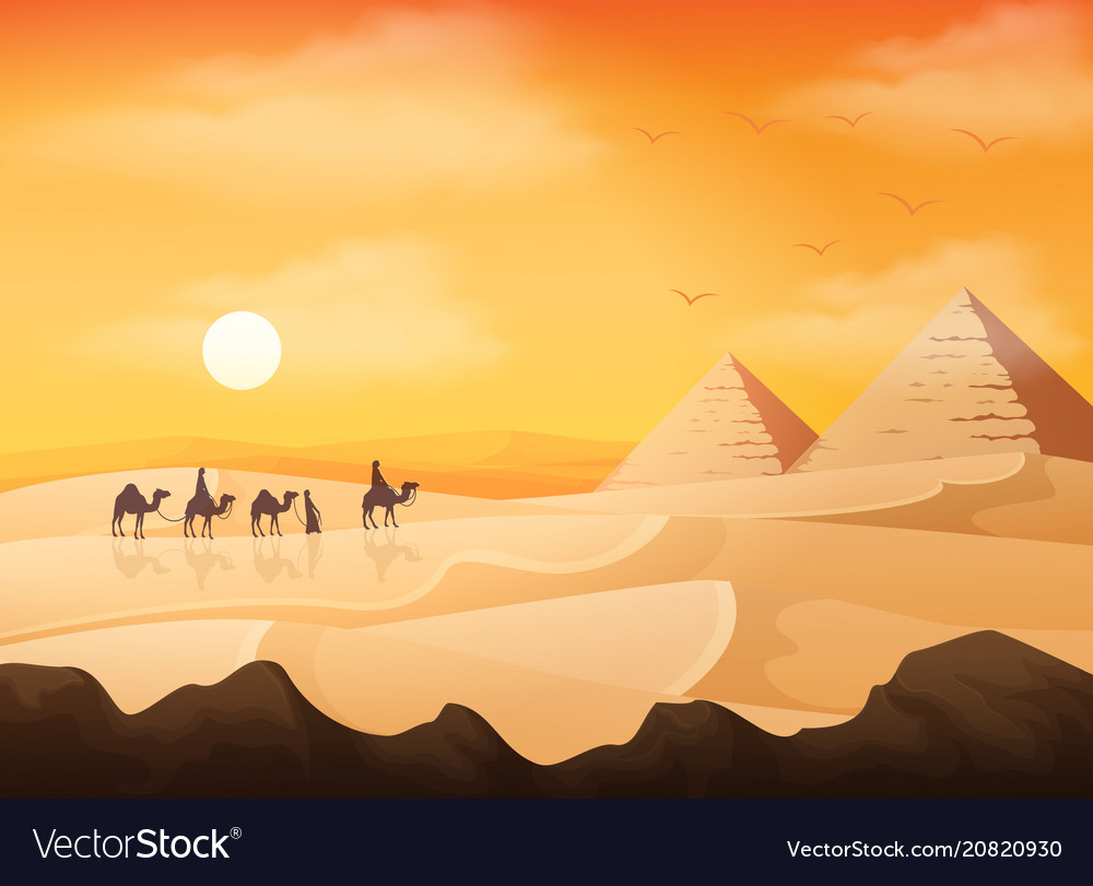 Camel caravan in wild africa pyramids landscape at