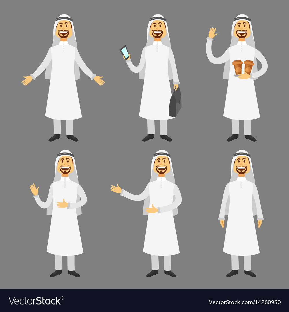 Cartoon images set of arab man in traditional