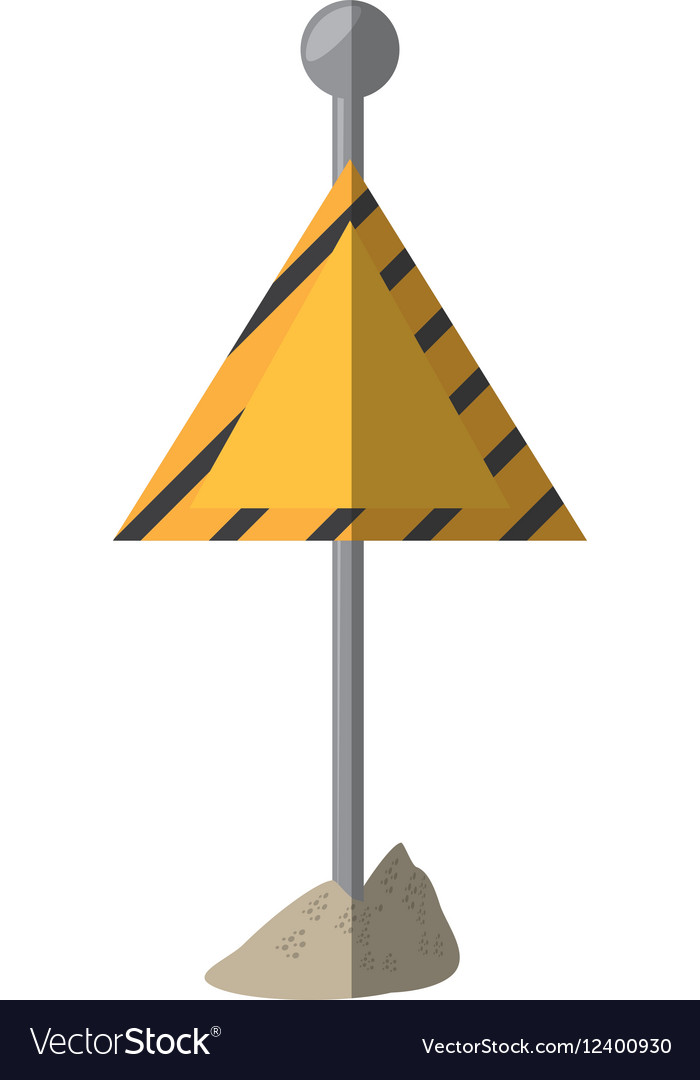 Cartoon sign road caution triangle vector image