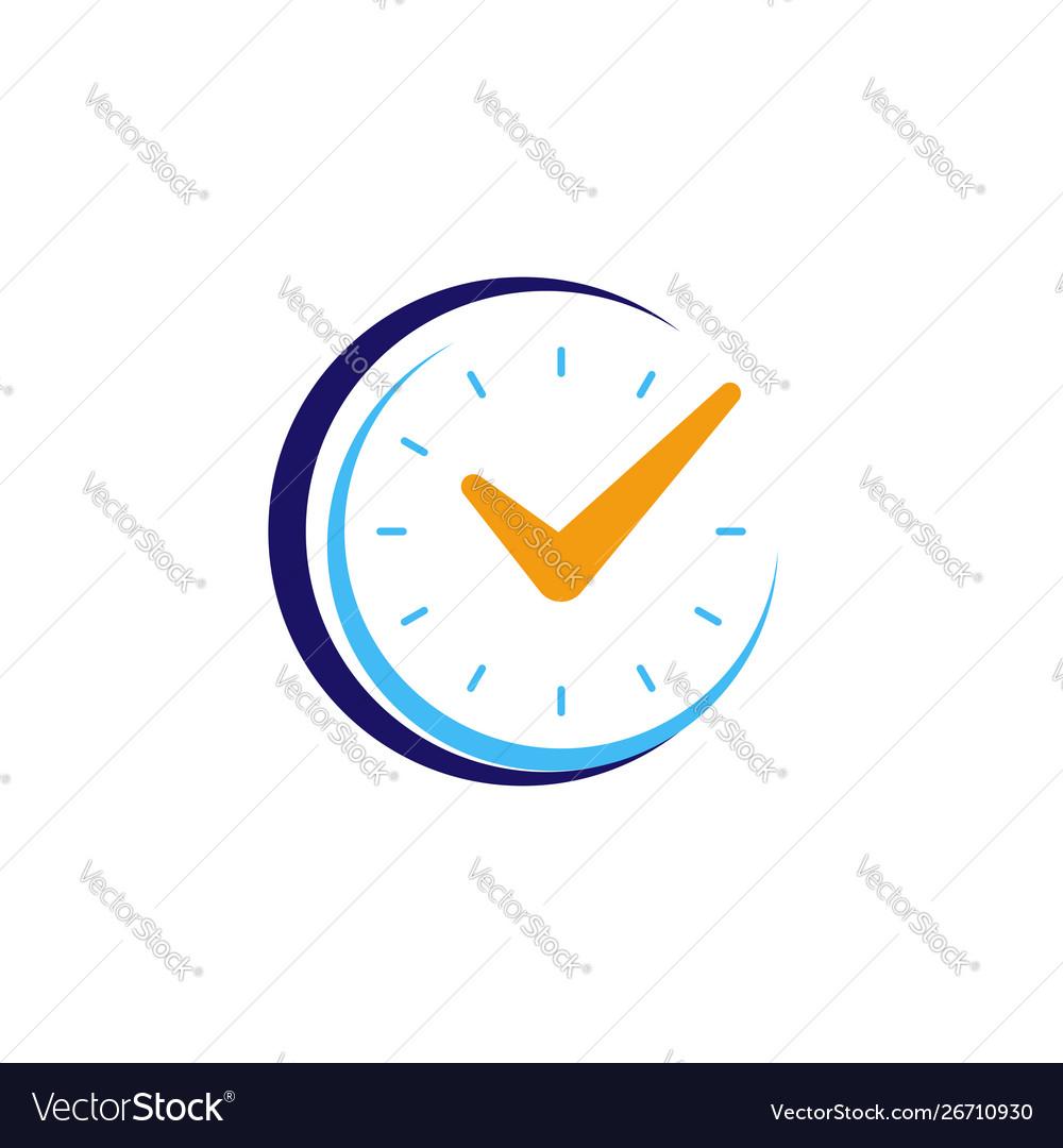 Clock icon with check mark flat design