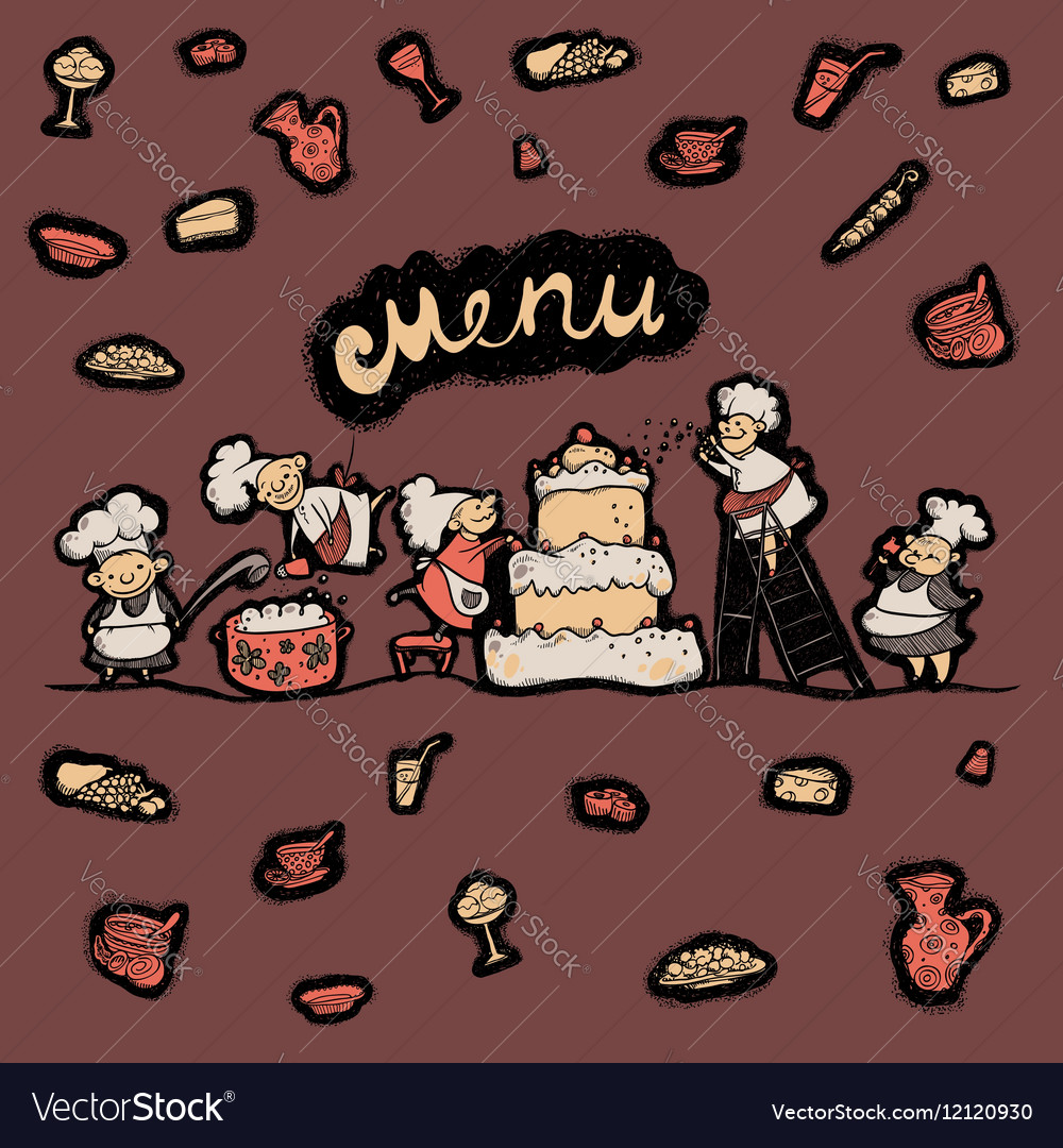Cover menu cheerful chef preparing a meal vector image