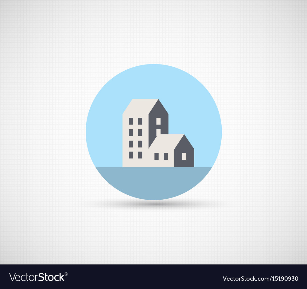 Creative web city icon in a flat style