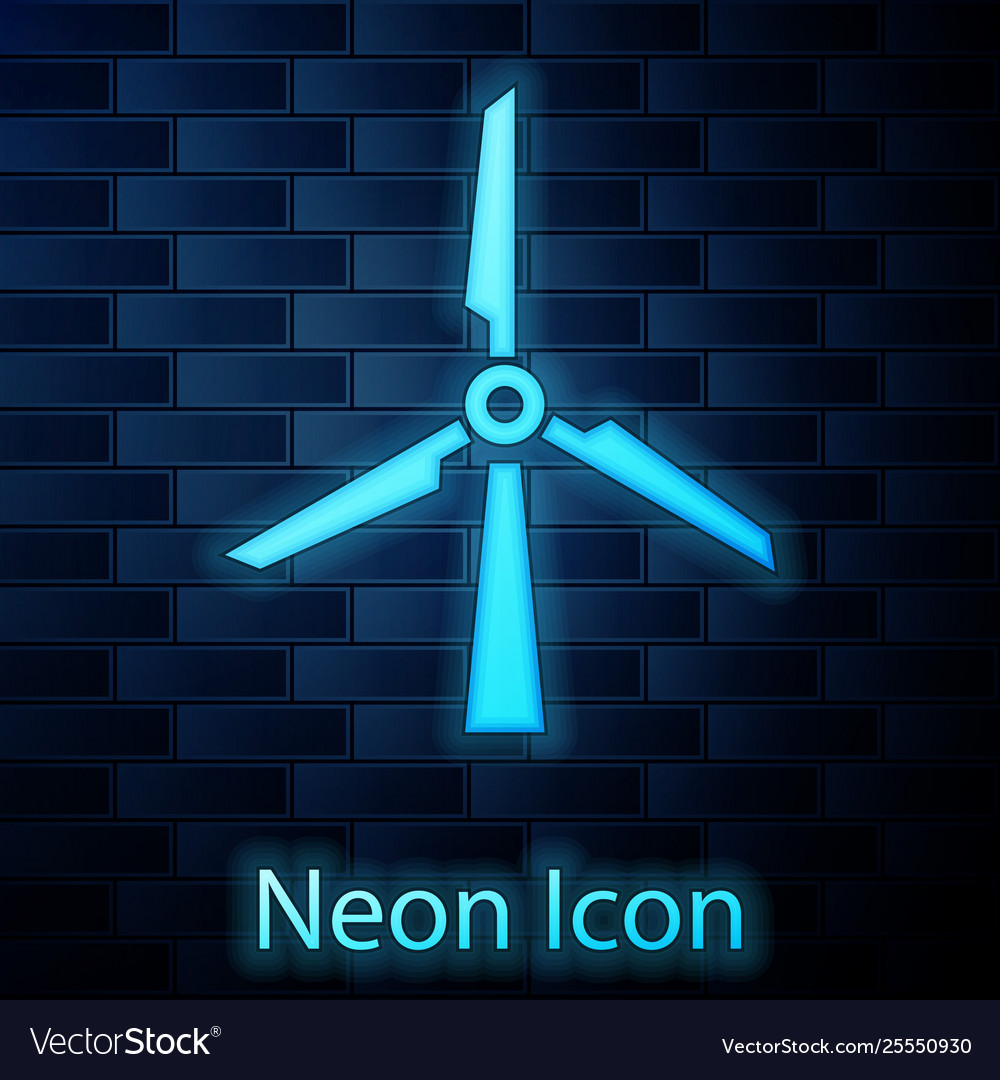 Glowing neon wind turbine icon isolated on brick