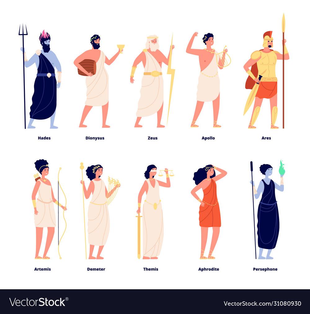Greek gods mythology goddess collection cartoon