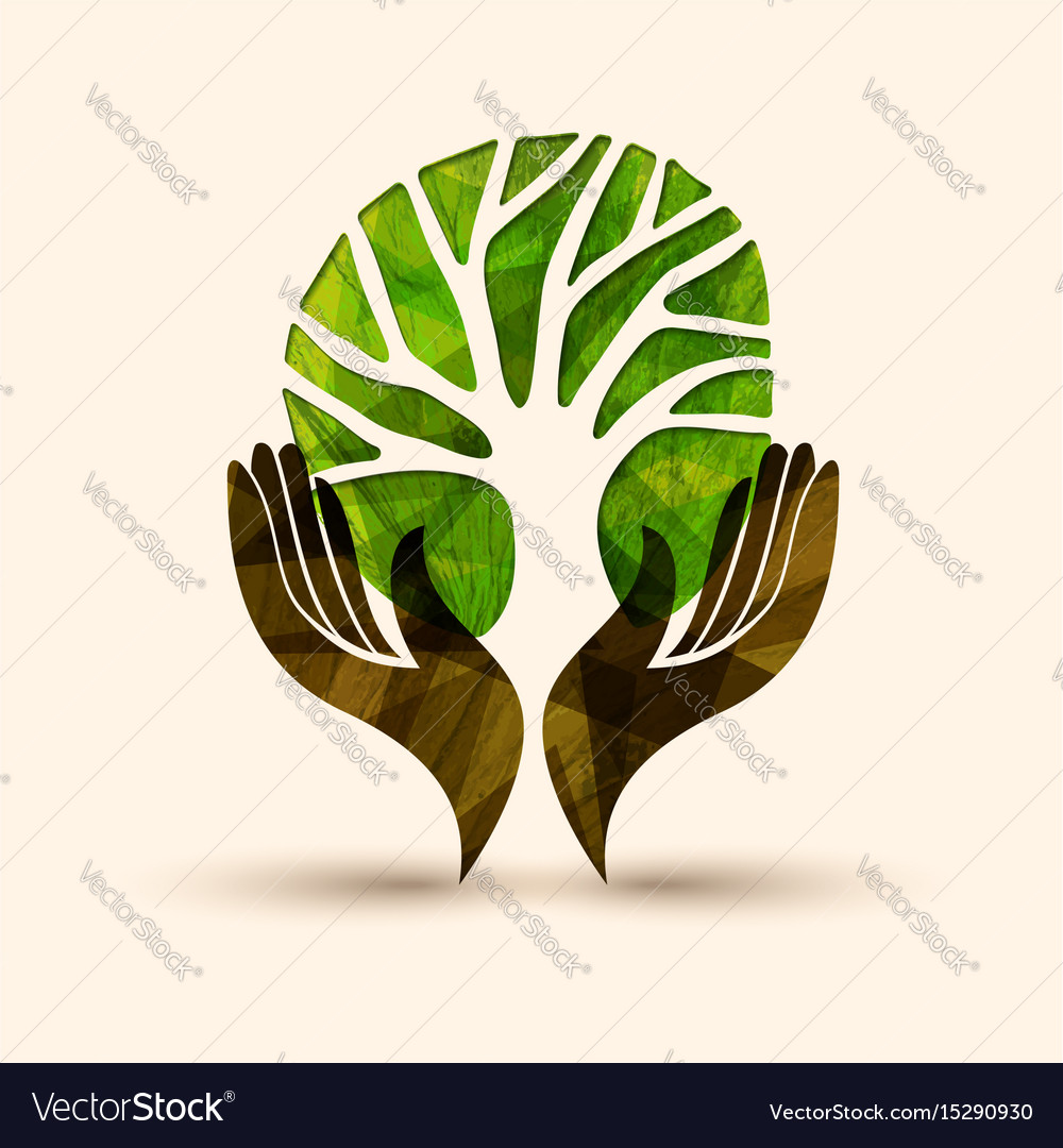 Hand tree green nature people help