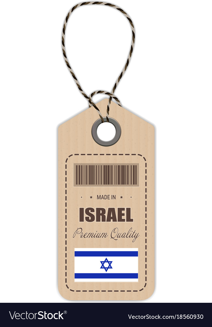 Hang tag made in israel with flag icon isolated on
