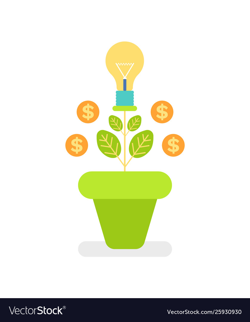Plant and coins dollar sign money tree