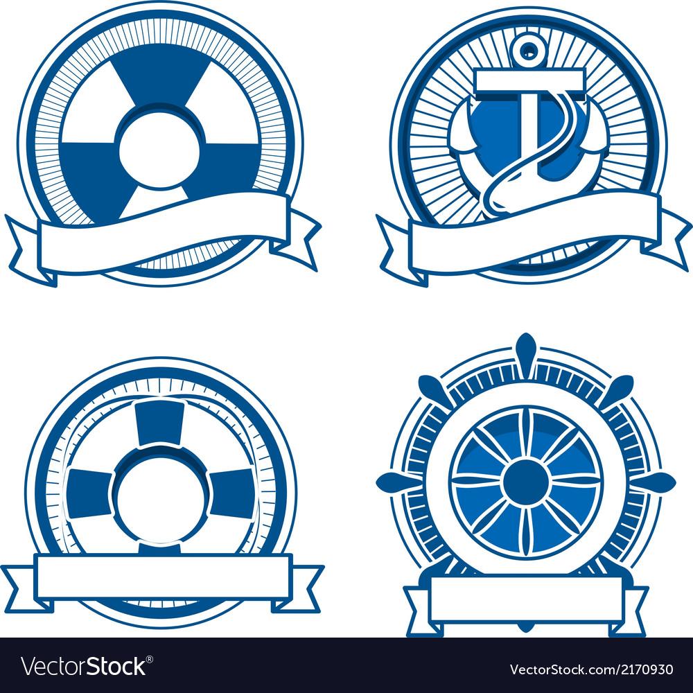 Retro sea stamps set vector image