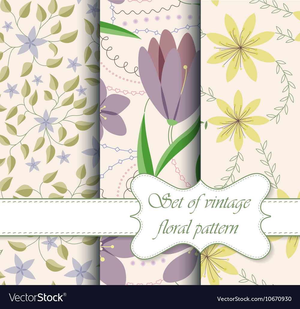 Set of seamless patterns vintage floral