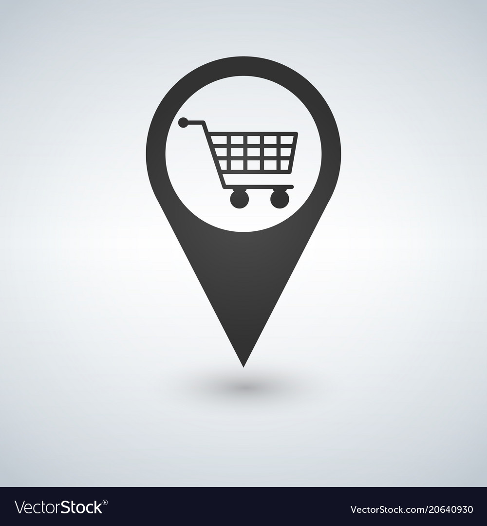 Shopping cart pointer icon isolated on white