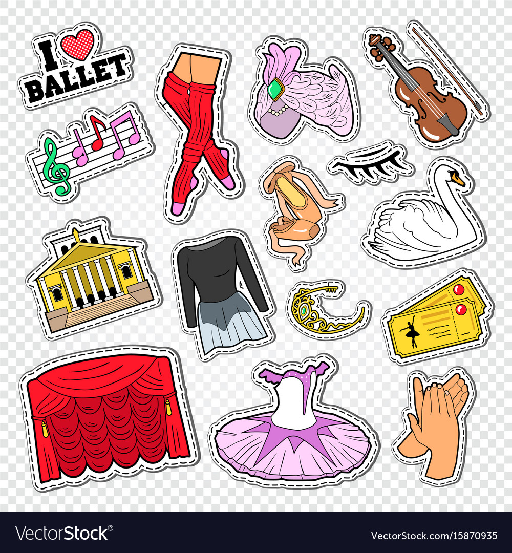 Ballet doodle with dance theater stickers