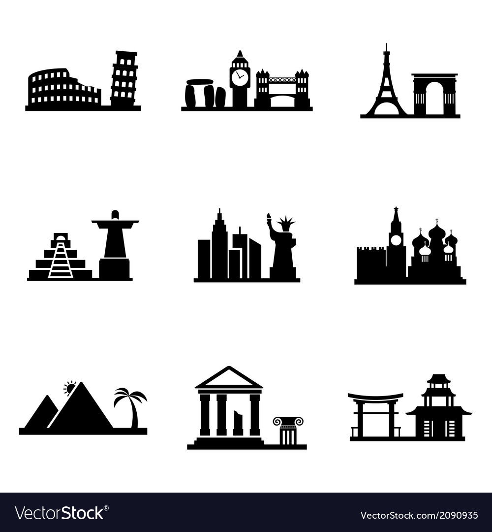 Black landmarks icons set