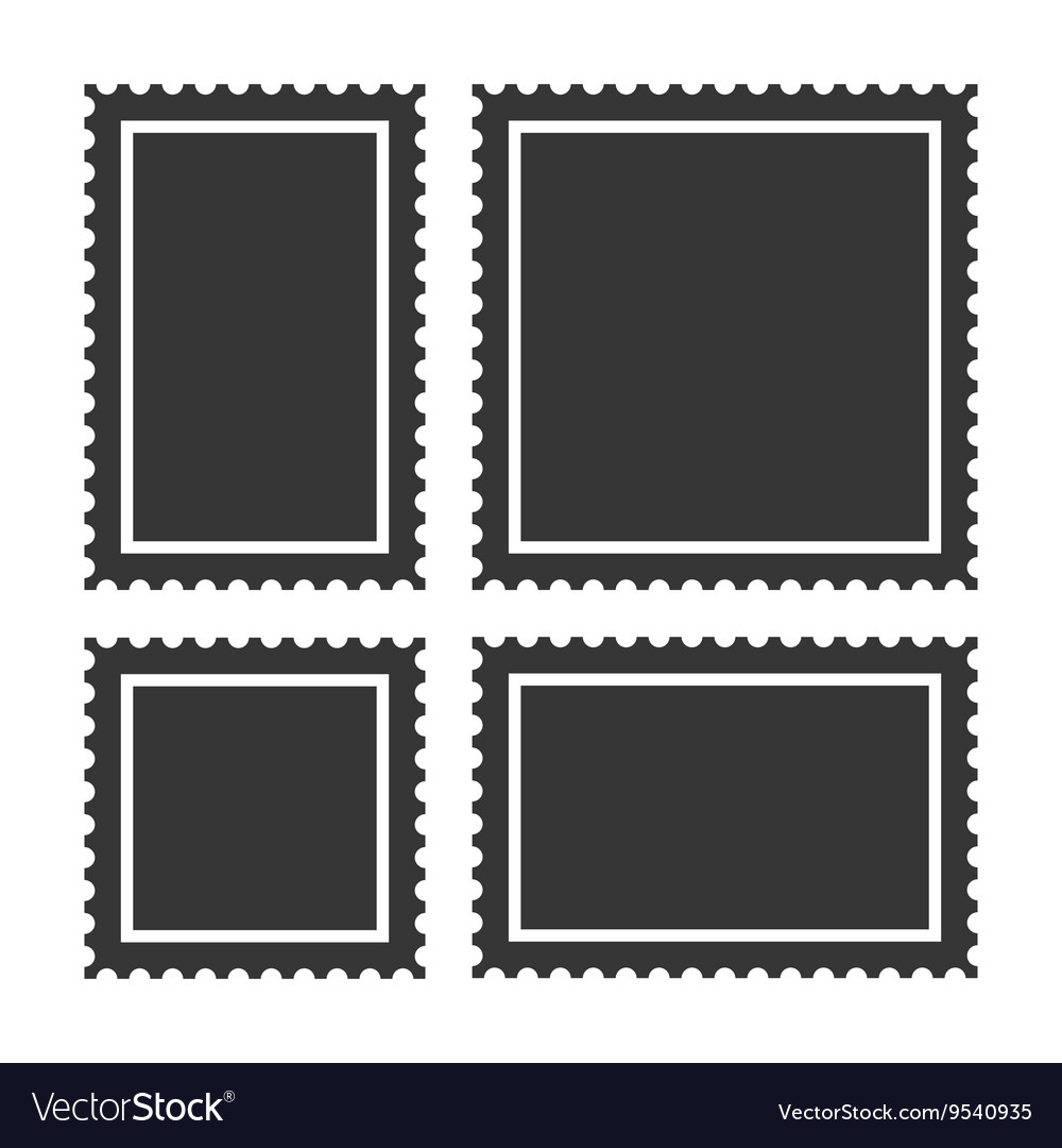 Blank postage stamps set on white background