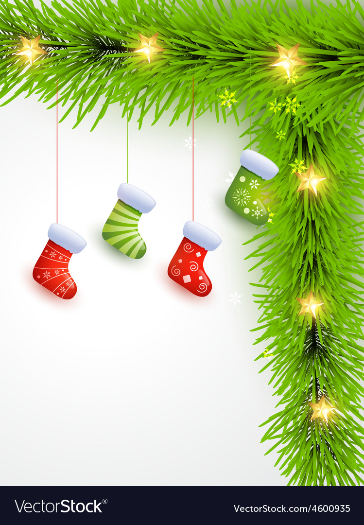Christmas socks hanging vector image