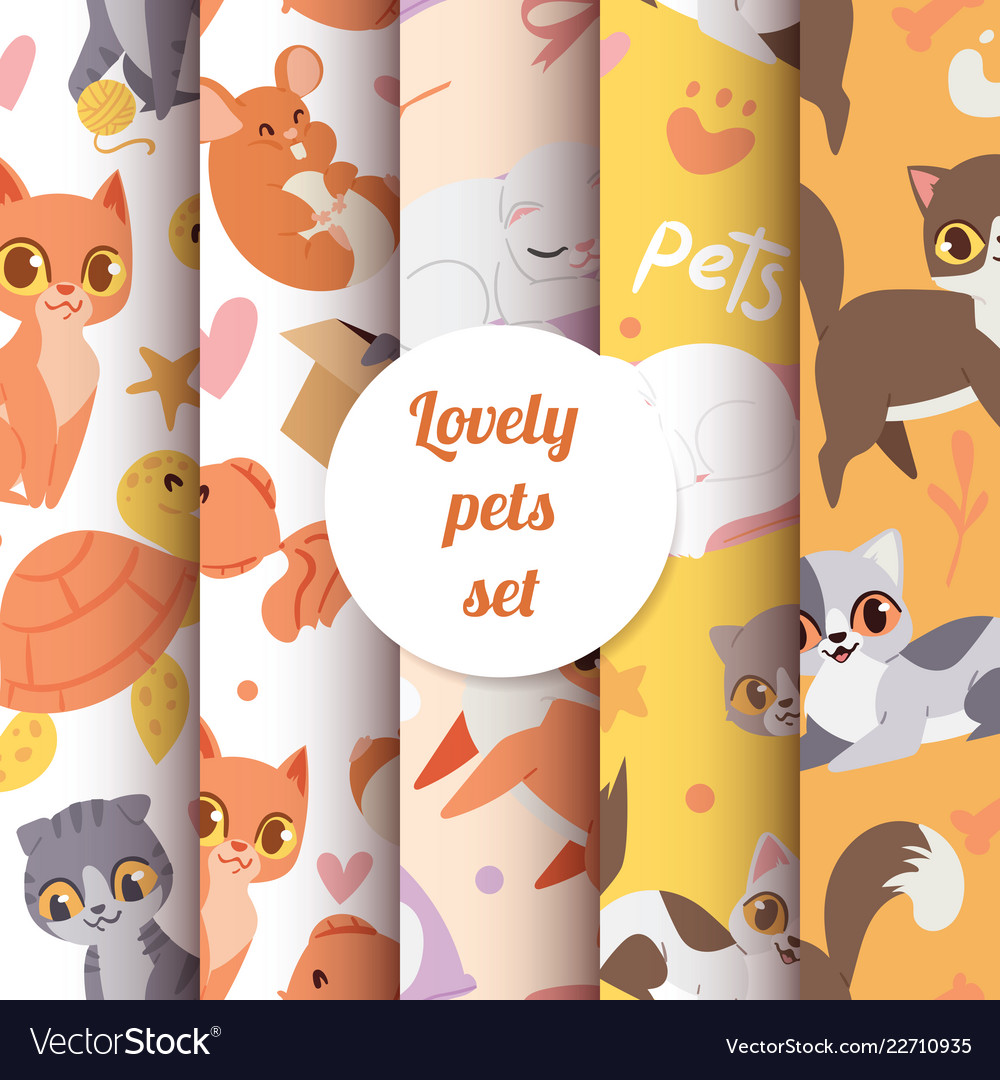 Cute animals cats seamless pattern with lovely
