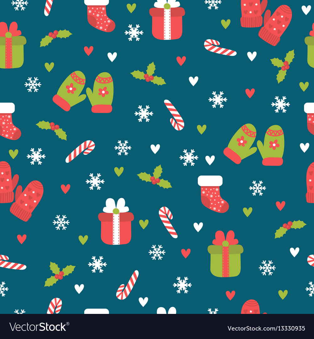 Cute christmas seamless pattern christmas and new