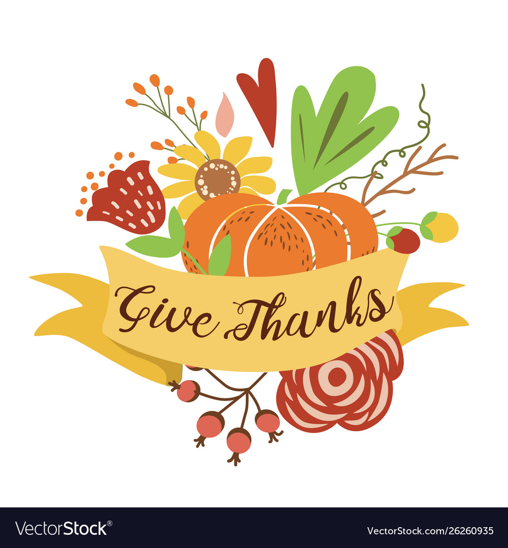 Give thanks autumn bouquet composition hand drawn
