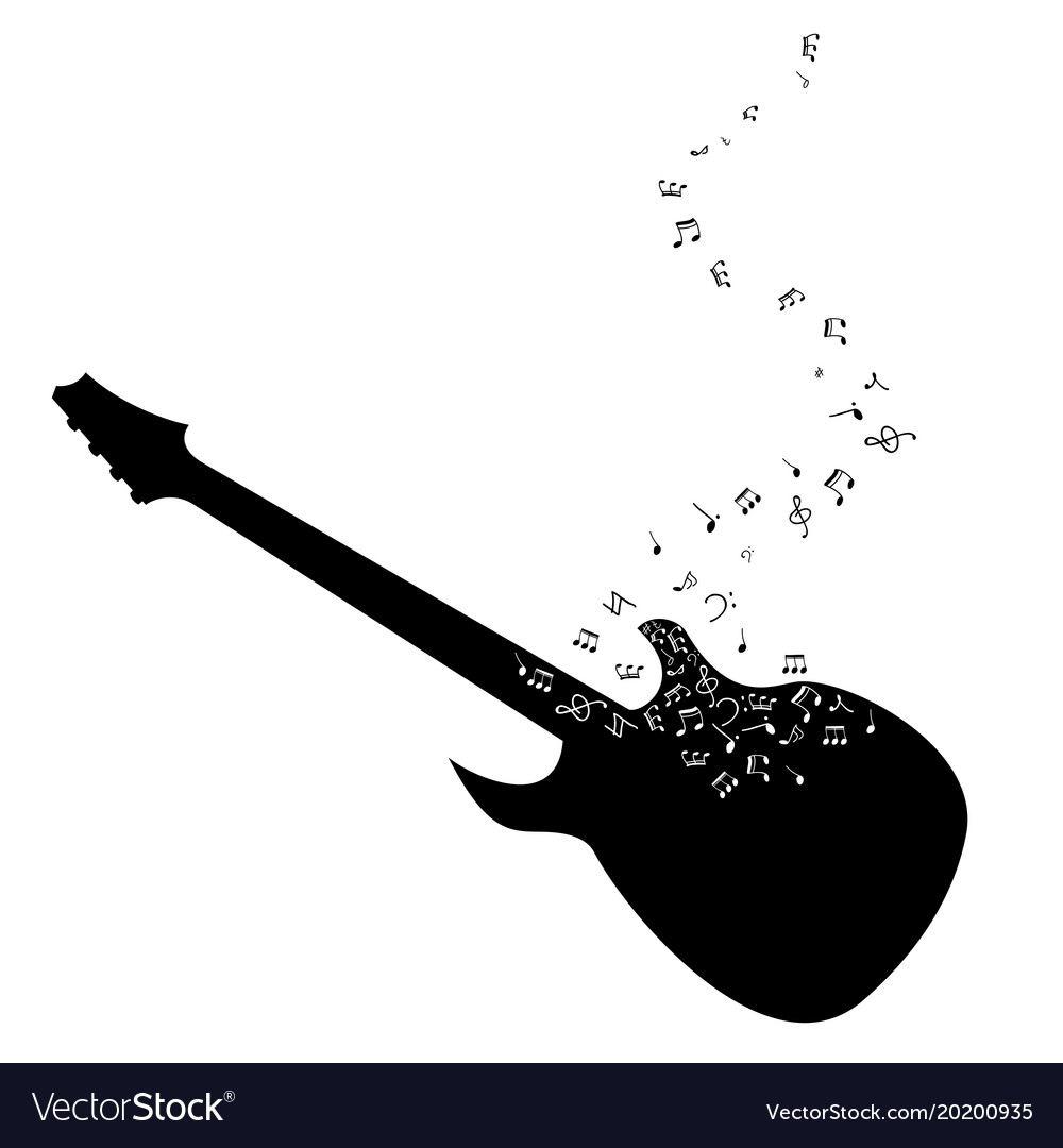 Guitar musical notes vector image