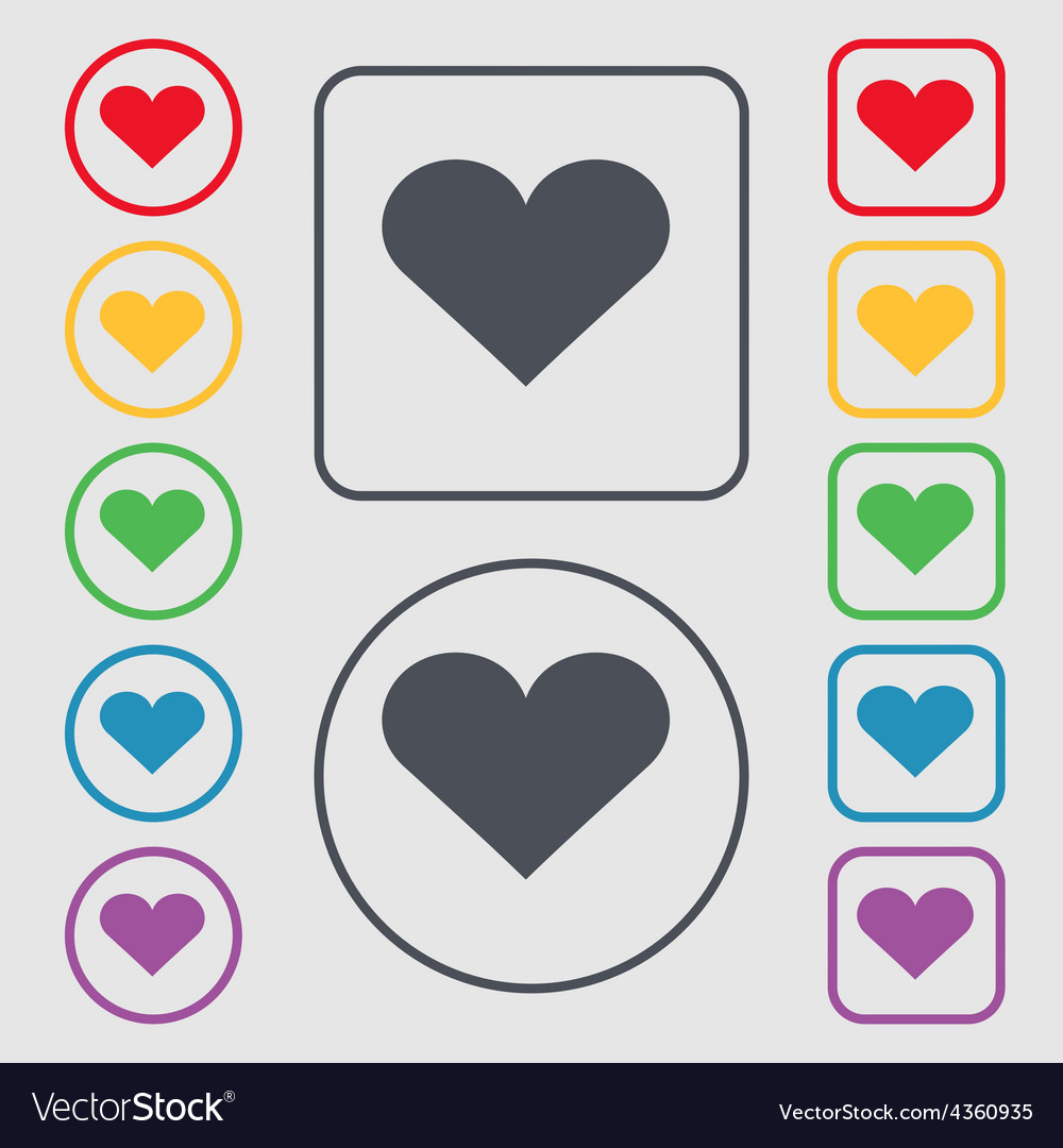 Heart Love icon sign symbol on the Round and