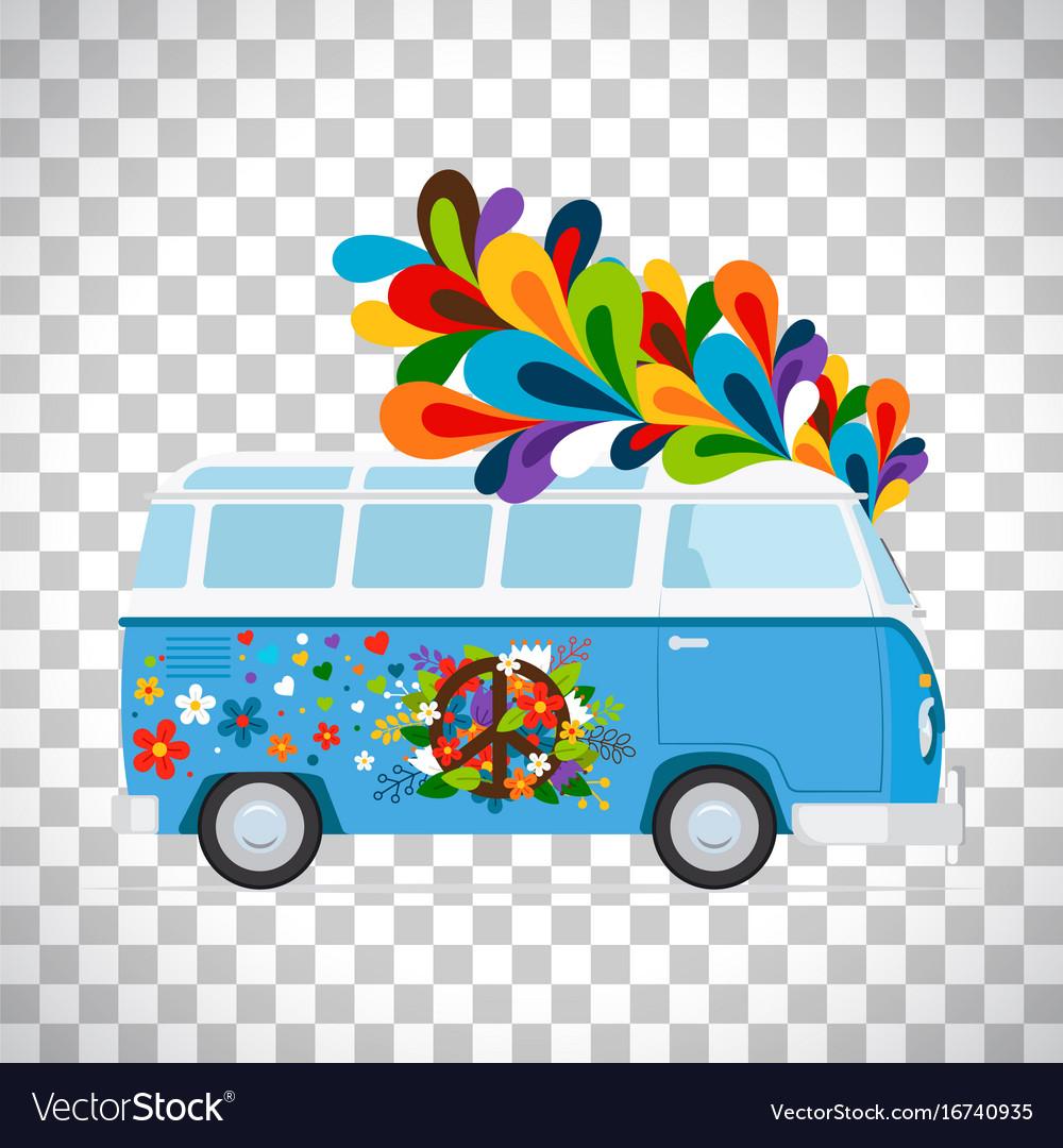Hippie bus on transparent background vector image
