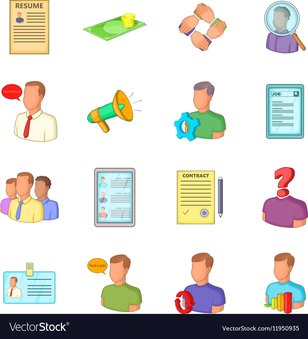 Human resources icons set flat style