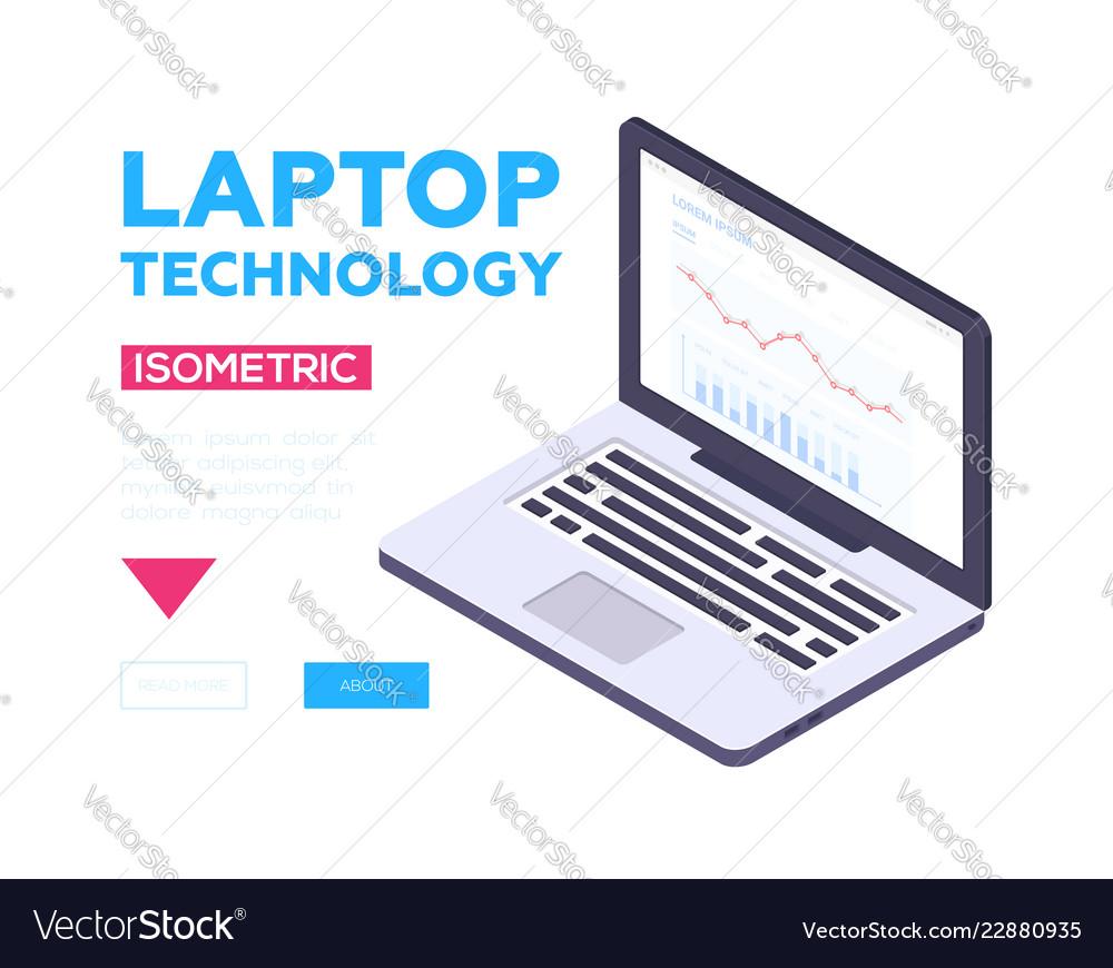 Laptop technology banner - modern isometric