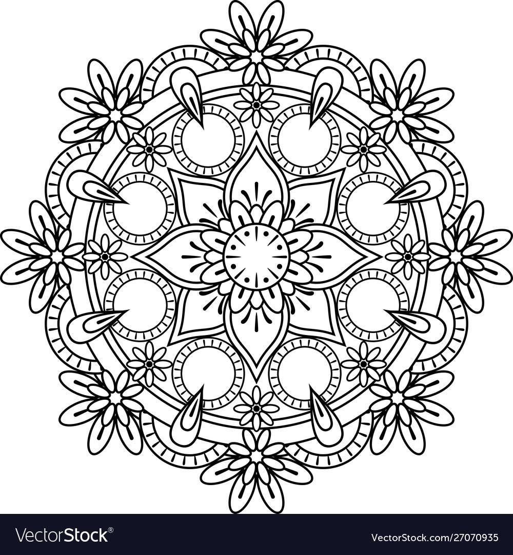 Mandala Coloring Royalty Free Vector Image Vectorstock