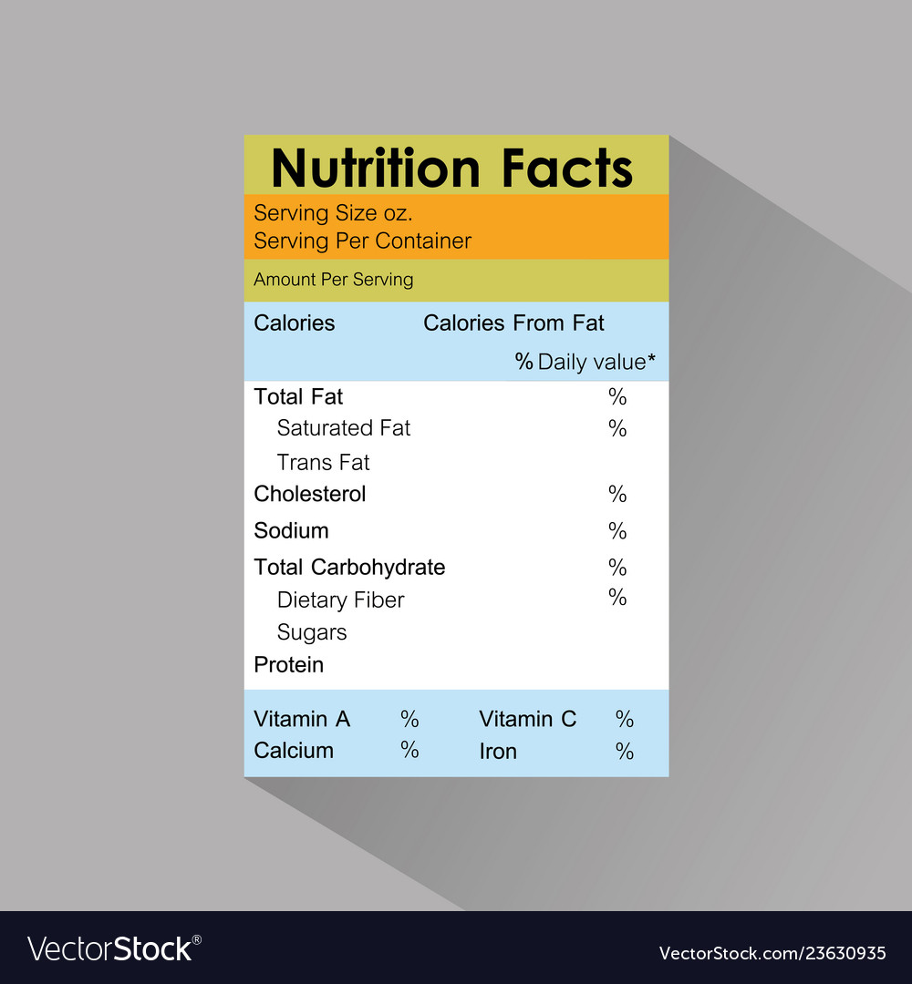 Nutrition Facts Food Label Template With Shadow Vector Image