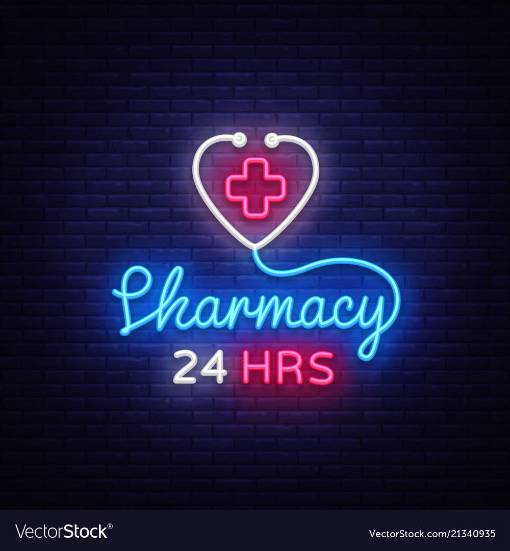 Pharmacy neon sign pharmacy 24 hours