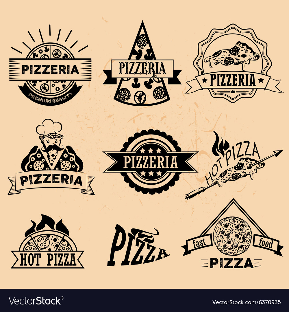 Set of Pizza Labels in vintage style Icons
