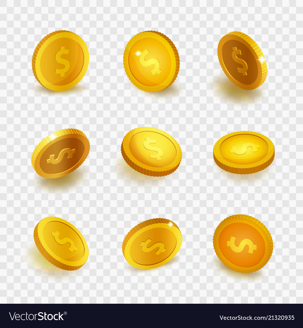 Stock realistic set gold coins
