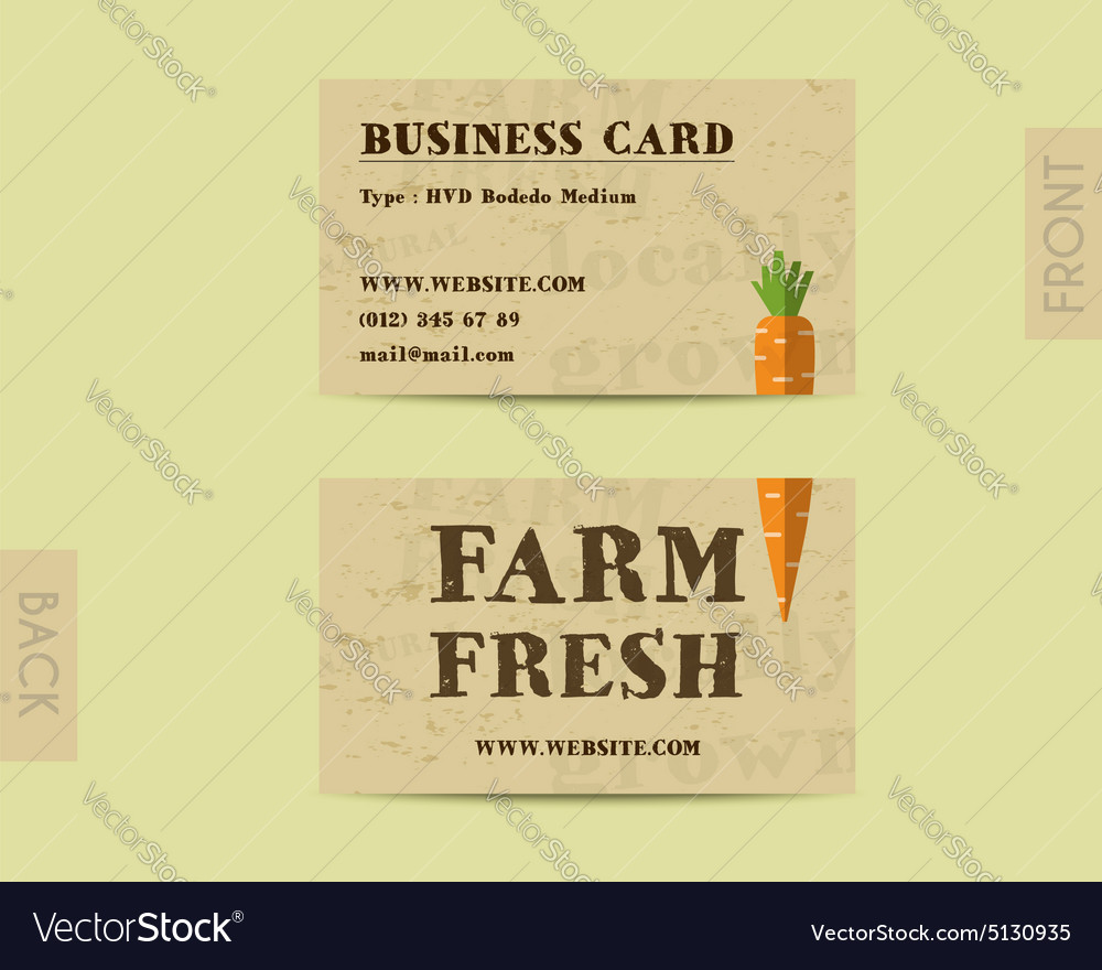 Stylish farm fresh visiting card template